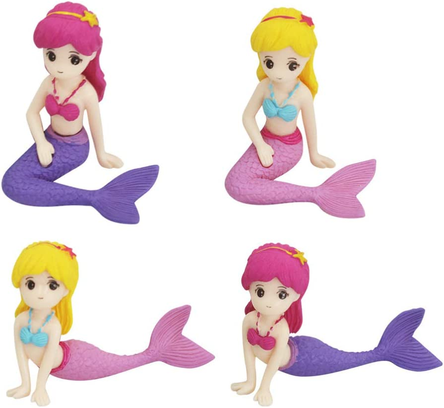 Toyvian 4Pcs Miniature Mermaid Figurines Mermaid Doll Cake Toppers Mermaid Collection Playset for Kids Mermaid Birthday Baby Shower Party Supplies