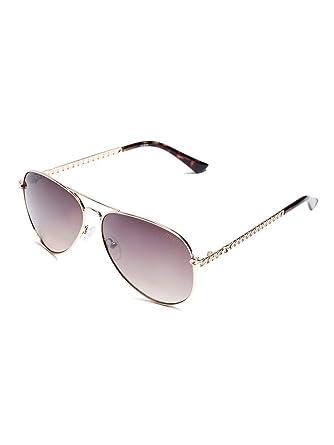 6ee37fd116 Amazon.com  GUESS Factory Women s Metal Chain-Link Aviator Sunglasses   Clothing