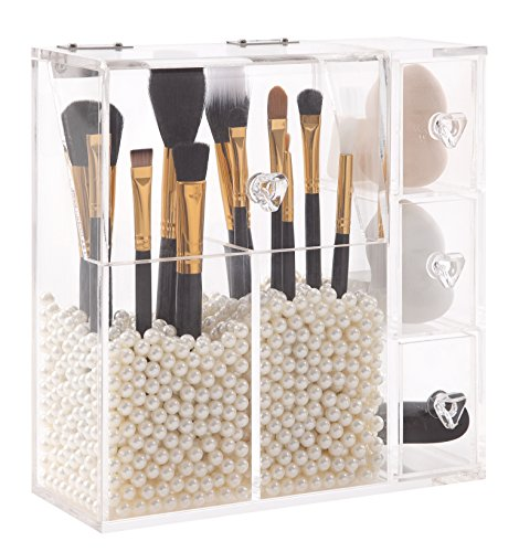 PuTwo Makeup Organizer With 2 Make Up Brush Holders and 3 Drawers All In One Case with Free White Pearl by PuTwo