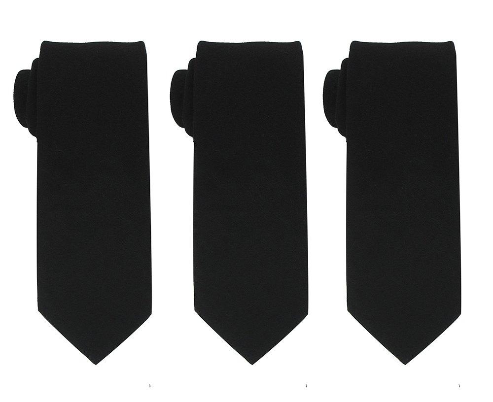 Kebs Basic Mens Solid Color Cotton Necktie Regular Tie for Men 3 PCS - Black