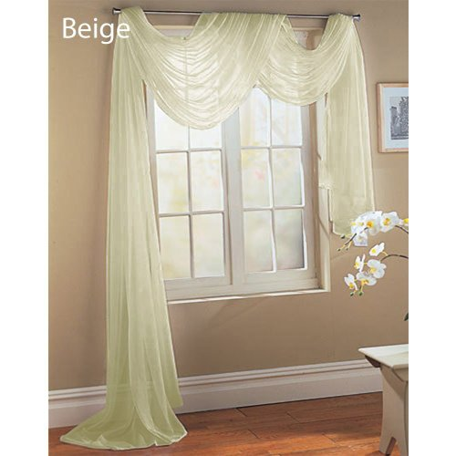Window Treatments Swags (LuxuryDiscounts Beautiful Elegant Solid Beige Sheer Scarf Valance Topper 40