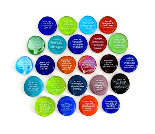Lifeforce Glass Scripture Glass Stones, 24 of Your Favorite Inspiring Bible Verses on Translucent and Opaque Rocks, Set I. (Verse Favorite Bible)