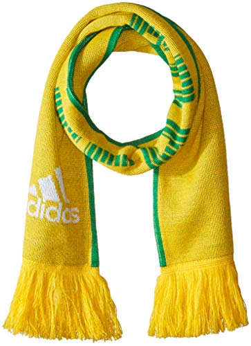 adidas World Cup Soccer Brazil Fashion Scarf, One Size, Bold Gold/Green/White