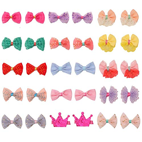 (pony princess Dog Bows Hair Accessories with Clip Pet Grooming Products Puppy Small Bowknot Handmade Mix Styles Small Middle Hair Bows Topknot 30PCS/15Pairs)