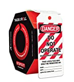 Accuform Signs TAR406 Tags By-The-Roll Lockout Tags, Legend''DANGER DO NOT OPERATE MAINTENANCE DEPARTMENT'', 6.25'' Length x 3'' Width x 0.010'' Thickness, PF-Cardstock, Red/Black on White (Roll of 100)