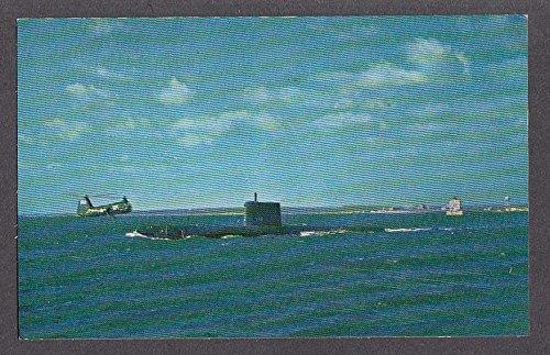 (USS Nautilus nuclear-powered submarine leaving New London harbor postcard)
