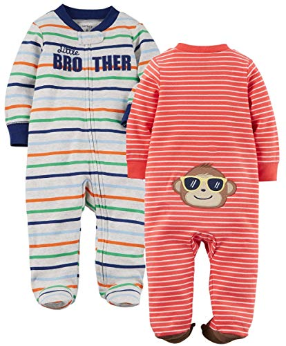 Carter's Boys' 2-Pack Cotton Sleep and Play (Cute Prints, 3 Months)