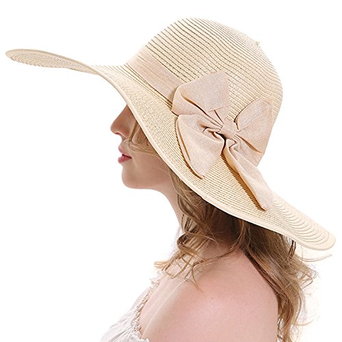 Itopfox Women's Folable Floppy Hat Big Bowknot Straw Hat Wide Brim Beach Hat 50+ UPF Sun Hat (Straw Derby)