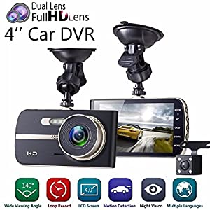 Dash Cam, 1080P HD Dual Channel Dashboard Cameras Front and Rear, Driving Video Recorder with 4.0'' IPS Screen, Built In G-Sensor, Motion Detection, Loop Recorder