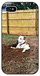 For SamSung Galaxy S4 Case Cover Case Dog digging holes - black plastic case / dog, animals, dogs