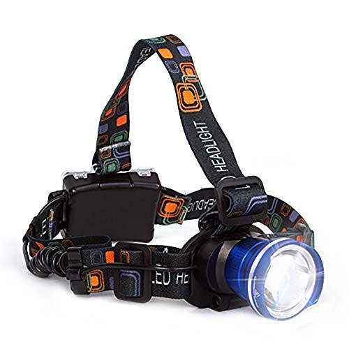 Lightess LED Headlamp Super Bright Head Lamp Zoomable Headlights 3 Modes XM-L T6 Waterproof Adjustable Head Light for Running Climbing Hunting Riding Camping, Blue, 1800lm