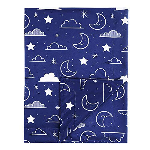 Minky Baby Blanket 30″ x 40″ Soft Plush Double Layer Fleece Fabric Swaddle Blanket for Newborns and Toddler Kids Crib Bedding, Nursery, Security (Navy Blue, Stars and Clouds)