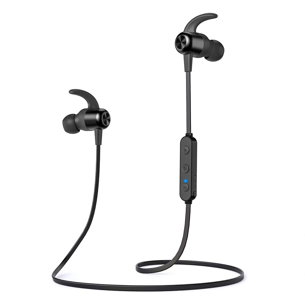 Bluetooth Headphones TaoTronics Wireless Earbuds Sport Earphones 20 Hours 5.0 Magnetic Lightweight & Fast Pairing (Noise Cancelling Mic, Snug Silicon Earbuds, Magnetic Design)