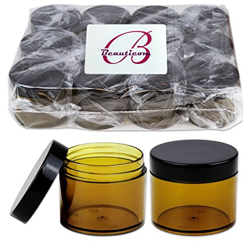 Beauticom 2 oz./ 60 Grams/60 ML (Quantity: 384 Packs) Thick Wall Round AMBER Plastic LEAK-PROOF Jars Container with BLACK Lids for Cosmetic, Lip Balm, Lip Gloss, Creams, Lotions, Liquid by Beauticom®