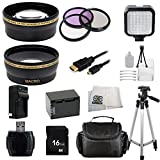 Sony Handycam HDR-PJ810 HDR-PJ430V ,HDR-CX430V Ultimate Professional Accessory Kit. Includes Wide Angle & Telephoto Lens + 3 Piece Filter Kit (UV-CPL-FLD) + 16GB Memory card + Extended Life Replacement Battery (NP-FV70) + Micro HDMI + Tripod + Case + More