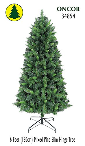 6ft Eco-Friendly Oncor Slim Mixed Pine Christmas Tree