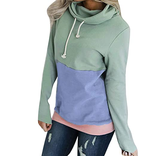 Womens Hoodies Long Sleeve Jumper Colorblock High Neck Sweatshirt Pullover Sweater Coat With Pocket Pink M