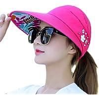 oukery - Visera para mujer, parasol de verano para coleta abierta, visera de ala ancha, sombrero plegable ajustable con perlas de imitación, decoración floral con abalorio, gorra de playa para pesca en niveles de 6 colores