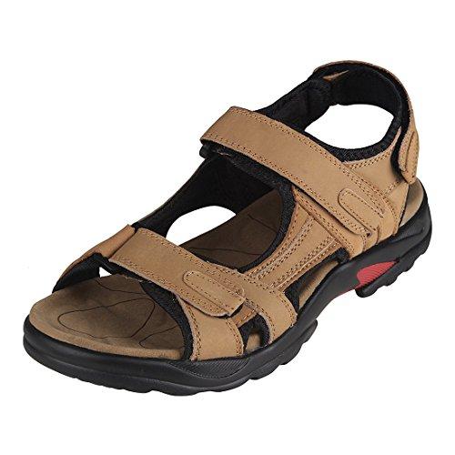 TOOGOO(R) sandales garcon cuir Kaki Hommes chaussures d'ete,Taille 44