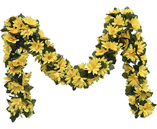 Wedding Flowers 5' Daisy Chain Garland Silk Artificial Home Party Arch Decor (Yellow)