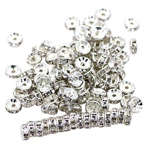ZHUBI Crystals Spacer Beads 100pcs 8mm A+++ Round Rondelle Spacer Charm Beads Silver Tone White Clear Czech Crystal for Jewelry Making