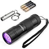 HOPDAY Handheld Powerful UV Blacklight 390-410nM 12 LED Ultraviolet Flashlight Pet Dog and Cat Urine Stains Detector Bugs Pests Scorpions Spotter with AAA Batteries and Mini keychain Flashlight
