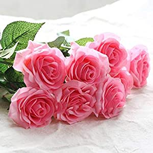 10pcs 11pcs/Lot Rose Artificial Flowers Real Touch Rose Flowers for New Year Home Wedding Decoration Party Birthday Gift,A Pink 1,11pcs 66
