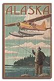 alaska painting - Alaska - Float Plane and Fisherman (10x15 Wood Wall Sign, Wall Decor Ready to Hang)