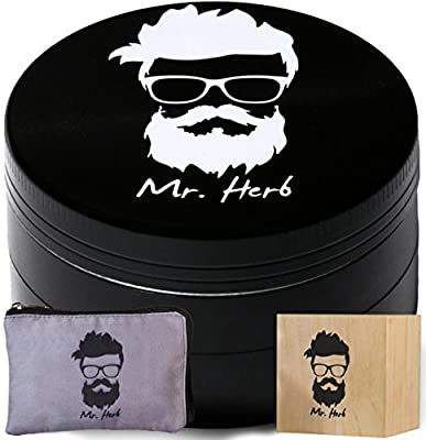Mr. Herb 2.5 Inch Grinder for Herb Tobacco Weed and Spice 4 Piece Chamber Shredder Crusher With Pollen Catcher and Scraper