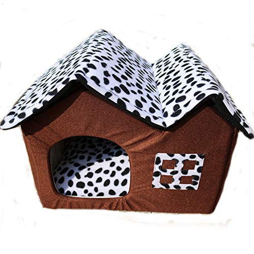 Coffee Kennel, Removable Kennel, Autumn and Winter Dog House Double Top Kennel Pet Nest Cat Litter (color   Coffee)