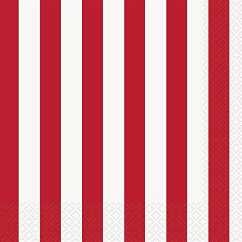 Red Striped Paper Napkins, -