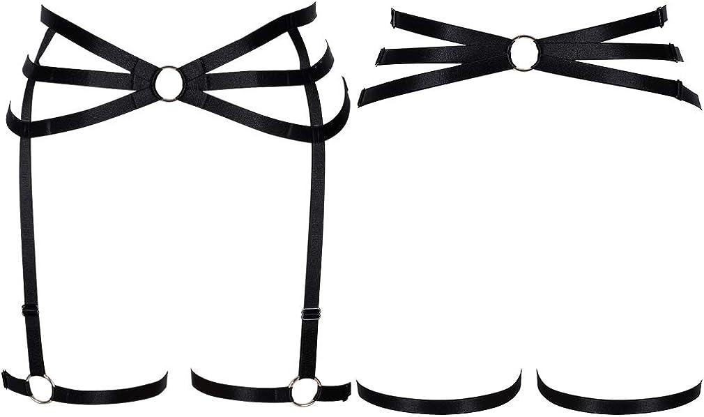 Damen Body Harness Strumpfband Tanzen Orgie Bein Strappy Punk Gothic Verstellbarer G/ürtel