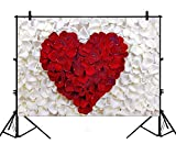 7x5ft Red Rose White Petal Heart-Shaped Romantic Love Wedding Polyester Photography Backdrop Photography Props Studio Photo Booth Props