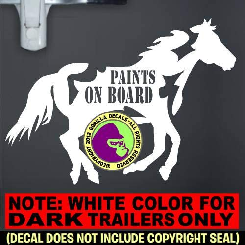 PAINTS ON BOARD Horse Trailer Caution Vinyl Decal Sticker E