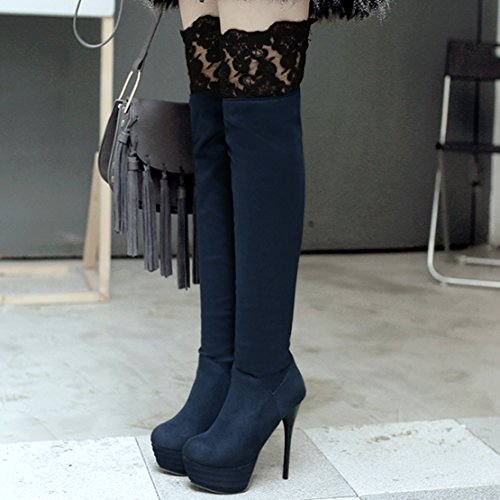 Heels Autumn Blue Elastic Round Winter AIYOUMEI Boots Slip Knee on Over Thin Lace Platform Women's Toe the awqazr8P