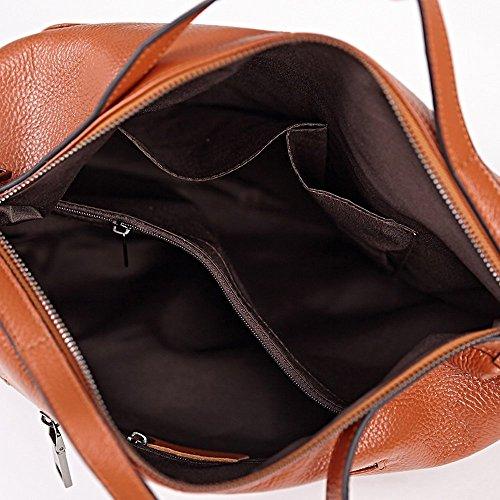 brown Marrón Hbbb0008 marrón Cuerpo Cruz Portátil Hombro Azul Mujer Piel De Sakutane Bolsas Bolsa Auténtica Oscuro 17vOBHxw