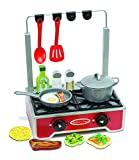 Melissa & Doug 17-Piece Deluxe Wooden Cooktop Set With Wooden Play Food - Durable Pot and Pan