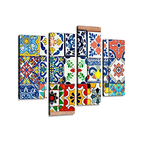 (Talavera Handcrafted Mexican Ceramic TileCanvas Wall Art Hanging Paintings Modern Artwork Abstract Picture Prints Home Decoration Gift Unique Designed Framed 4 Panel)