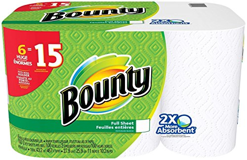 (Bounty Paper Towels, White, 6 Huge Rolls)