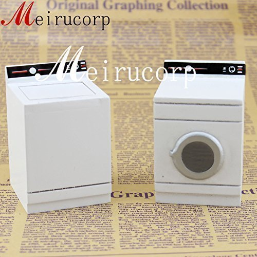 Miniature Toy Wood (Dollhouse Fine 1:12 Scale Miniature High Quality White Washing Machine and Dryer)