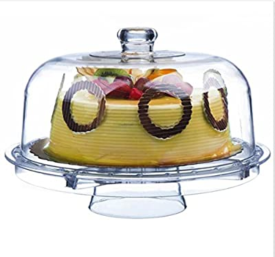 """Tebery Clear Acrylic Cake Stand Multifunctional Cake Plate With Dome 12"""" ( 6 Uses )"""