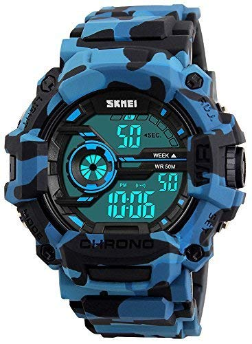 Geneve Gold Pocket Watch - Fanmis Men's Digital LED Sports Watch Waterproof Electronic Casual Military Wrist Camouflage Blue Strap Boys Watch With Silicone Band Luminous Army Watches