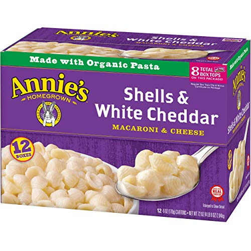 Annie's Macaroni and Cheese, Shells & White Cheddar Mac and Cheese, 6 oz Box (Pack of (Organic Cheddar Cheese)