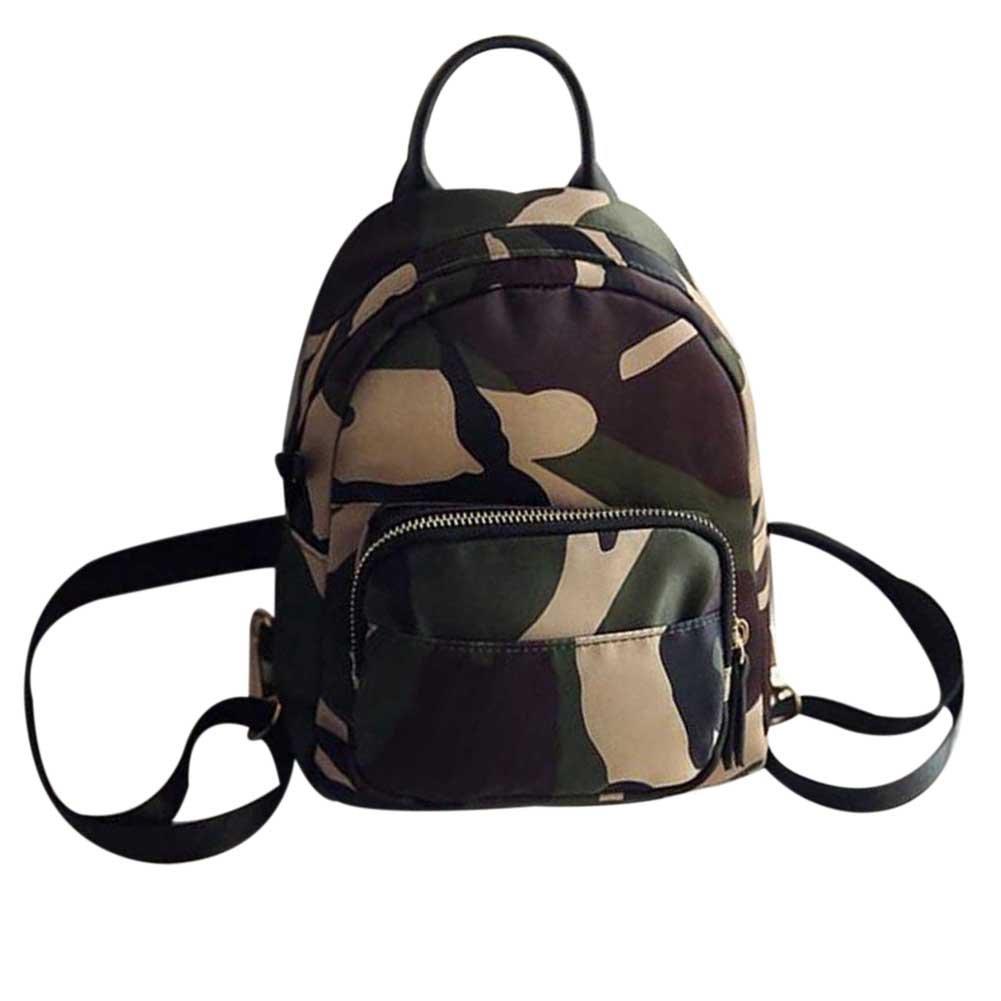 SODIAL 女性のバックパック ナイロンショルダースクールトラベルバッグ 小さなカジュアルバックパック(迷彩) B07CQVHQSS