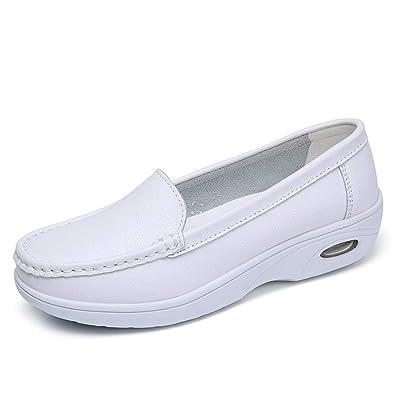 84950f4f5c ZYEN Women s Leather Nurses Shoes Comfortable Slip-on All White Work Nursing  Loafers SH01quanbai35
