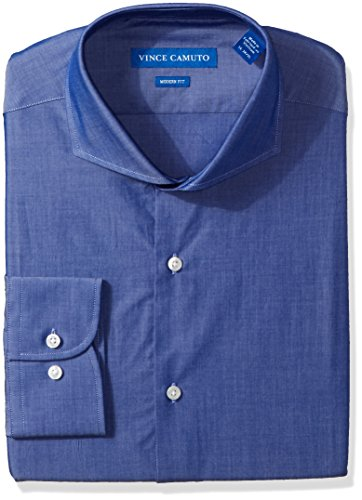 - VINCE CAMUTO Men's Modern Fit Chambray Dress Shirt, Indigo, 17