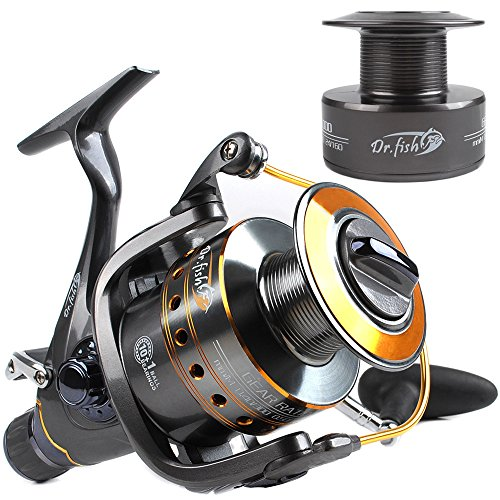 Dr.Fish Hercules-II Baitfeeder Spinning Reel 26Lb Max Drag Saltwater Freshwater Fishing 5.1:1 4000 Spare Spool 11 Stainless Ball Bearings High Power Front and Rear Drag