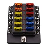 BlueFire 12-Way 30A 32V Blade Fuse Box Board with 24PCS Fuse + LED Warning Light for Car / Marine Boats / Automotive / Trike