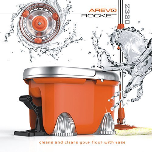 arevo-rocket-wet-spin-mop-and-bucket-with-foot-operated-easy-wring-system-and-washable-microfiber-cl