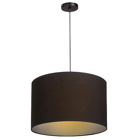 CCLIFE Lámpara colgante, Lámpara Colgante techo tela, pantalla redonda,40 cm de diámetro, lámpara redonda,Lámpara de tela para techo, Color:Negro